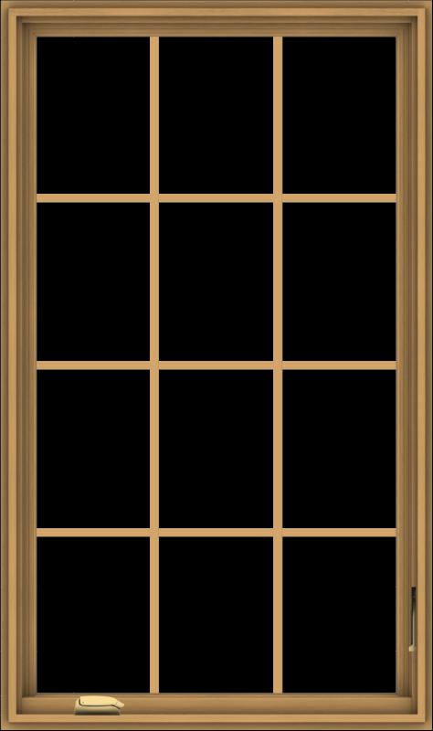 WDMA 32x54 (31.5 x 53.5 inch) Pine Wood Dark Grey Aluminum Crank out Casement Window without Grids
