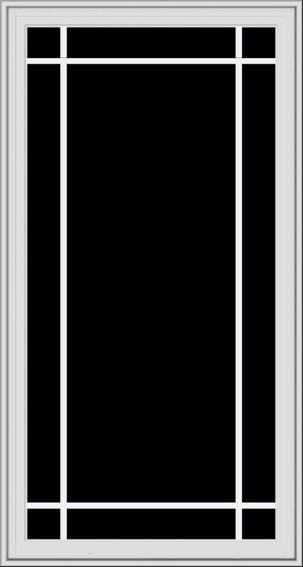 WDMA 32x60 (31.5 x 59.5 inch) White Vinyl UPVC Crank out Casement Window with Prairie Grilles