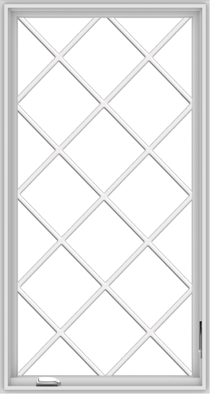 WDMA 32x60 (31.5 x 59.5 inch) White Vinyl UPVC Crank out Casement Window without Grids with Diamond Grills