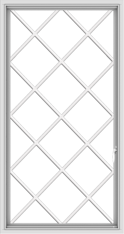 WDMA 32x60 (31.5 x 59.5 inch) White uPVC Vinyl Push out Casement Window without Grids with Diamond Grills