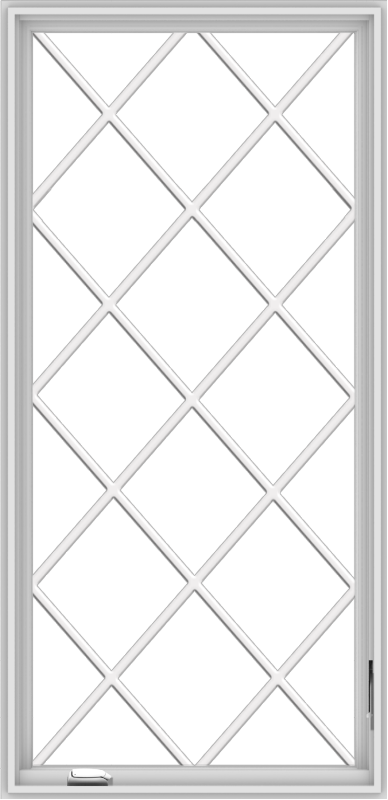 WDMA 32x66 (31.5 x 65.5 inch) White Vinyl UPVC Crank out Casement Window without Grids with Diamond Grills