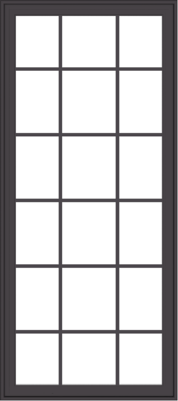 WDMA 32x72 (31.5 x 71.5 inch) Pine Wood Dark Grey Aluminum Crank out Casement Window with Colonial Grids Exterior