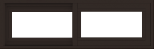 WDMA 36x12 (35.5 x 11.5 inch) Vinyl uPVC Dark Brown Slide Window without Grids Exterior