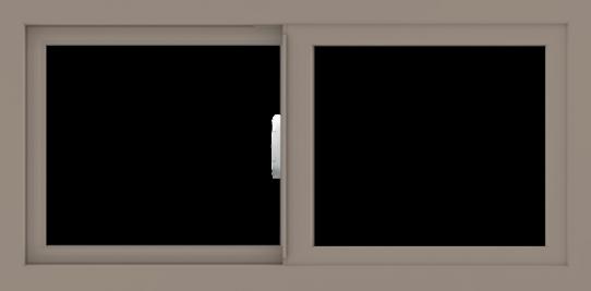 WDMA 36x18 (35.5 x 17.5 inch) Vinyl uPVC Brown Slide Window without Grids Interior
