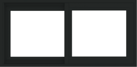 WDMA 36x18 (35.5 x 17.5 inch) Vinyl uPVC Black Slide Window without Grids Exterior