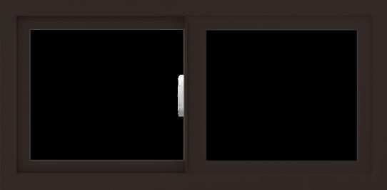 WDMA 36x18 (35.5 x 17.5 inch) Vinyl uPVC Dark Brown Slide Window without Grids Interior