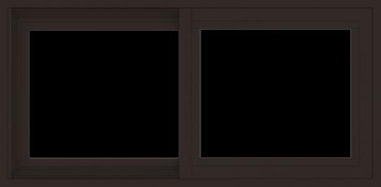 WDMA 36x18 (35.5 x 17.5 inch) Vinyl uPVC Dark Brown Slide Window without Grids Exterior