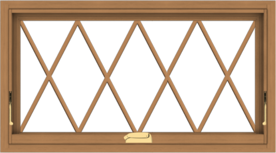 WDMA 36x20 (35.5 x 19.5 inch) Oak Wood Dark Brown Bronze Aluminum Crank out Awning Window without Grids with Diamond Grills