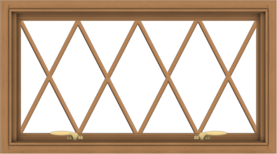WDMA 36x20 (35.5 x 19.5 inch) Oak Wood Green Aluminum Push out Awning Window without Grids with Diamond Grills