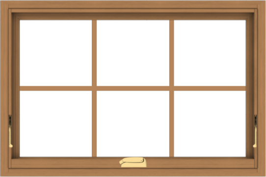 WDMA 36x24 (35.5 x 23.5 inch) Oak Wood Dark Brown Bronze Aluminum Crank out Awning Window with Colonial Grids Interior