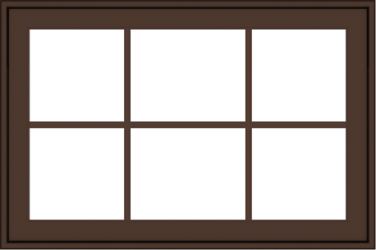 WDMA 36x24 (35.5 x 23.5 inch) Oak Wood Dark Brown Bronze Aluminum Crank out Awning Window with Colonial Grids Exterior