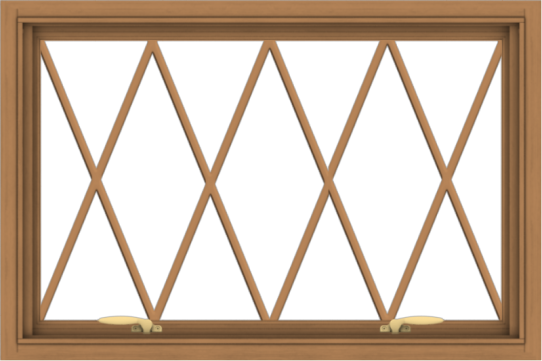 WDMA 36x24 (35.5 x 23.5 inch) Oak Wood Green Aluminum Push out Awning Window without Grids with Diamond Grills