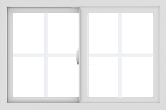 WDMA 36x24 (35.5 x 23.5 inch) Vinyl uPVC White Slide Window with Colonial Grids Exterior