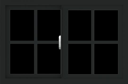 WDMA 36x24 (35.5 x 23.5 inch) Vinyl uPVC Black Slide Window with Colonial Grids Interior