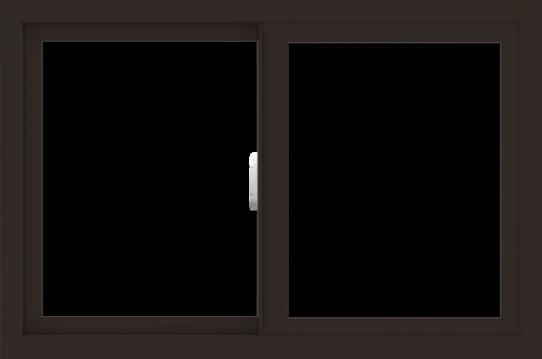 WDMA 36x24 (35.5 x 23.5 inch) Vinyl uPVC Dark Brown Slide Window without Grids Interior