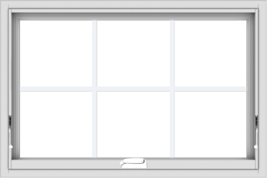 WDMA 36x24 (35.5 x 23.5 inch) White Vinyl uPVC Crank out Awning Window with Colonial Grids Interior
