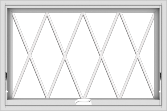 WDMA 36x24 (35.5 x 23.5 inch) White Vinyl uPVC Crank out Awning Window without Grids with Diamond Grills