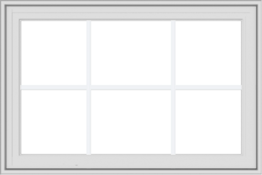 WDMA 36x24 (35.5 x 23.5 inch) White Vinyl UPVC Crank out Casement Window with Colonial Grids Exterior