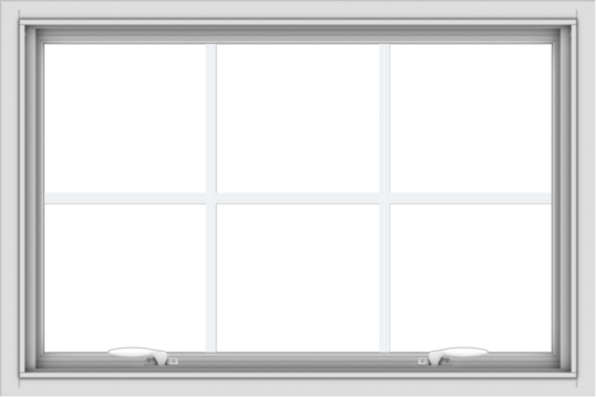 WDMA 36x24 (35.5 x 23.5 inch) White uPVC Vinyl Push out Awning Window with Colonial Grids Interior