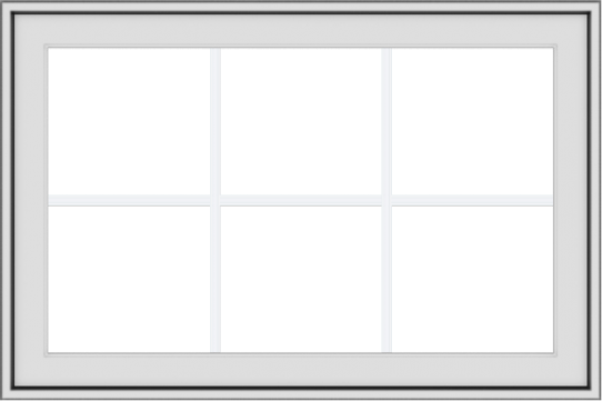 WDMA 36x24 (35.5 x 23.5 inch) White uPVC Vinyl Push out Awning Window with Colonial Grids Exterior