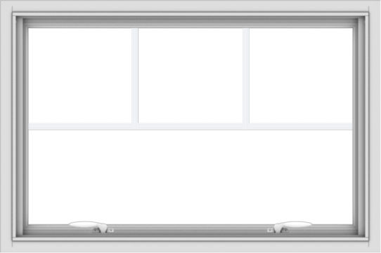 WDMA 36x24 (35.5 x 23.5 inch) White uPVC Vinyl Push out Awning Window with Fractional Grilles