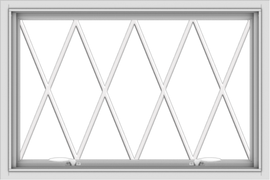 WDMA 36x24 (35.5 x 23.5 inch) White uPVC Vinyl Push out Awning Window without Grids with Diamond Grills