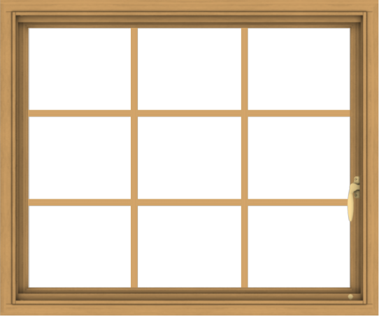 WDMA 36x30 (35.5 x 29.5 inch) Pine Wood Light Grey Aluminum Push out Casement Window without Grids