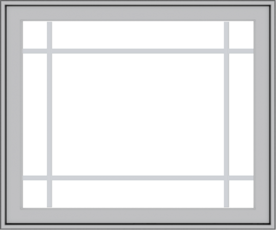 WDMA 36x30 (35.5 x 29.5 inch) Pine Wood Light Grey Aluminum Push out Casement Window with Prairie Grilles