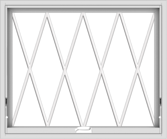 WDMA 36x30 (35.5 x 29.5 inch) White Vinyl uPVC Crank out Awning Window without Grids with Diamond Grills