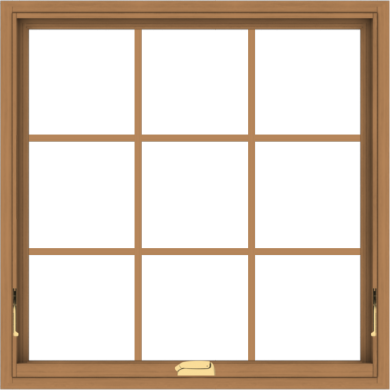 WDMA 36x36 (35.5 x 35.5 inch) Oak Wood Dark Brown Bronze Aluminum Crank out Awning Window with Colonial Grids Interior