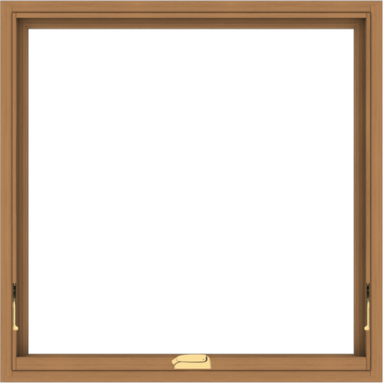 WDMA 36x36 (35.5 x 35.5 inch) Oak Wood Dark Brown Bronze Aluminum Crank out Awning Window without Grids