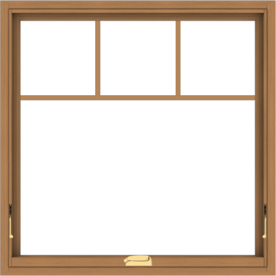 WDMA 36x36 (35.5 x 35.5 inch) Oak Wood Dark Brown Bronze Aluminum Crank out Awning Window with Fractional Grilles