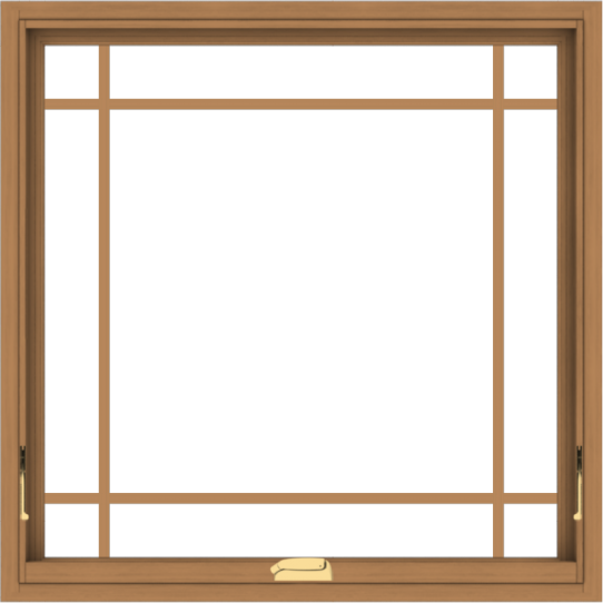 WDMA 36x36 (35.5 x 35.5 inch) Oak Wood Dark Brown Bronze Aluminum Crank out Awning Window with Prairie Grilles