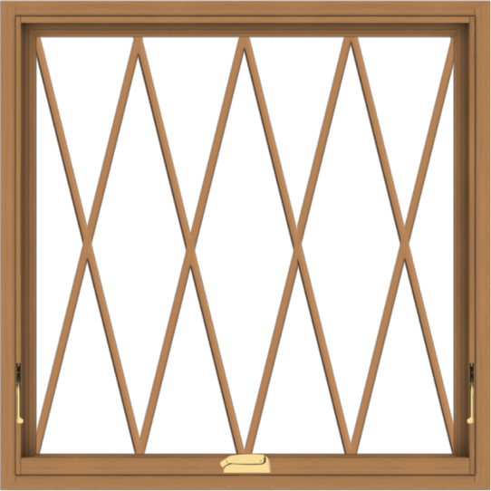 WDMA 36x36 (35.5 x 35.5 inch) Oak Wood Dark Brown Bronze Aluminum Crank out Awning Window without Grids with Diamond Grills