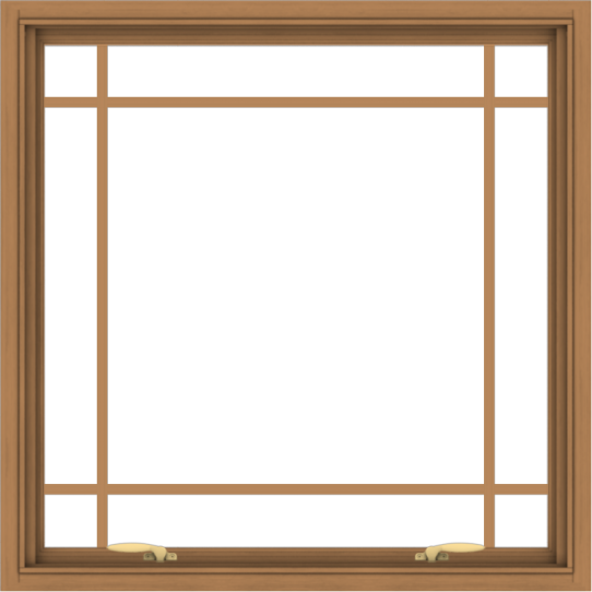 WDMA 36x36 (35.5 x 35.5 inch) Oak Wood Green Aluminum Push out Awning Window with Prairie Grilles