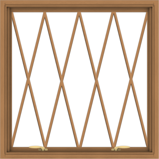WDMA 36x36 (35.5 x 35.5 inch) Oak Wood Green Aluminum Push out Awning Window without Grids with Diamond Grills
