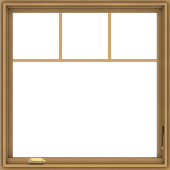 WDMA 36x36 (35.5 x 35.5 inch) Pine Wood Dark Grey Aluminum Crank out Casement Window with Fractional Grilles