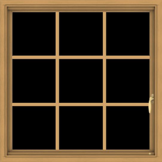 WDMA 36x36 (35.5 x 35.5 inch) Pine Wood Light Grey Aluminum Push out Casement Window without Grids