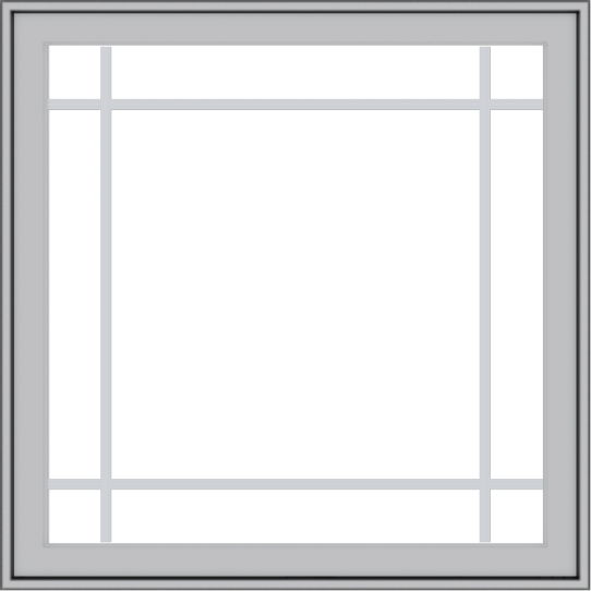 WDMA 36x36 (35.5 x 35.5 inch) Pine Wood Light Grey Aluminum Push out Casement Window with Prairie Grilles