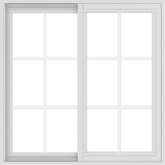 WDMA 36x36 (35.5 x 35.5 inch) Vinyl uPVC White Slide Window with Colonial Grids Exterior