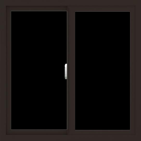 WDMA 36x36 (35.5 x 35.5 inch) Vinyl uPVC Dark Brown Slide Window without Grids Interior