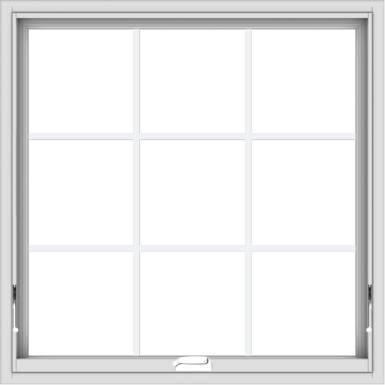 WDMA 36x36 (35.5 x 35.5 inch) White Vinyl uPVC Crank out Awning Window with Colonial Grids Interior