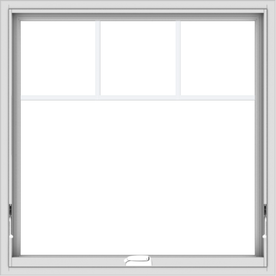WDMA 36x36 (35.5 x 35.5 inch) White Vinyl uPVC Crank out Awning Window with Fractional Grilles