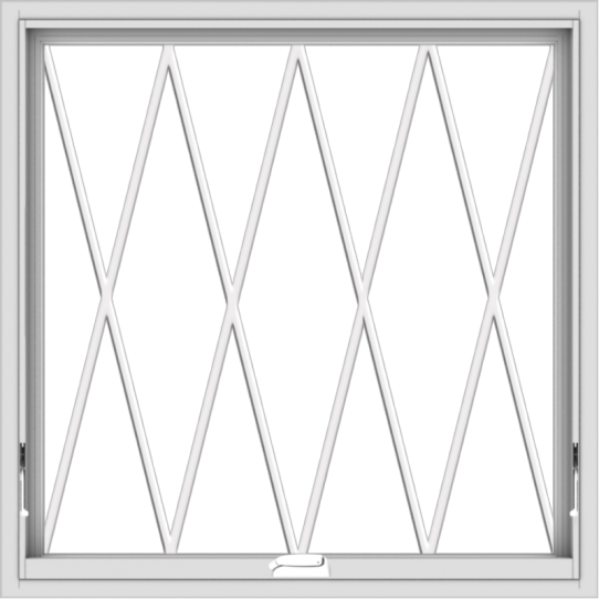 WDMA 36x36 (35.5 x 35.5 inch) White Vinyl uPVC Crank out Awning Window without Grids with Diamond Grills