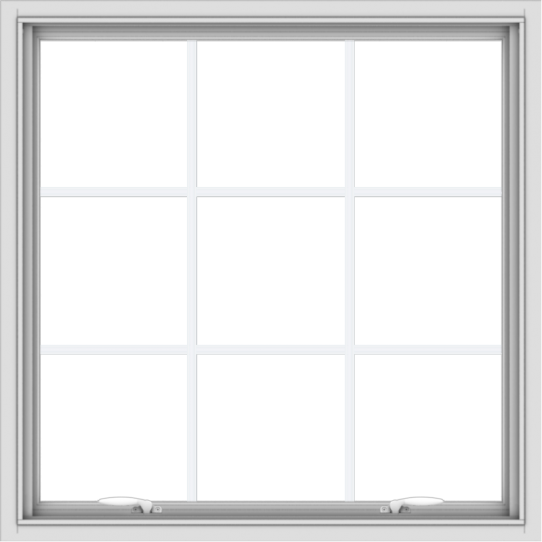 WDMA 36x36 (35.5 x 35.5 inch) White uPVC Vinyl Push out Awning Window with Colonial Grids Interior
