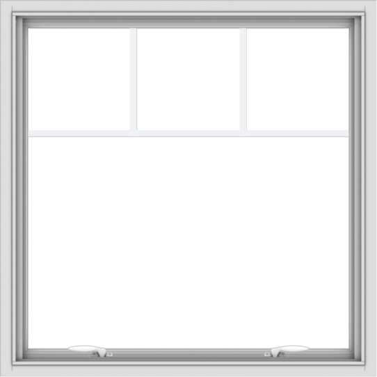 WDMA 36x36 (35.5 x 35.5 inch) White uPVC Vinyl Push out Awning Window with Fractional Grilles