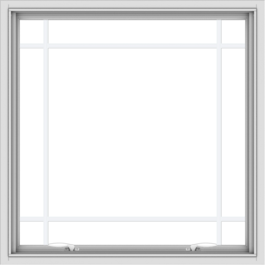 WDMA 36x36 (35.5 x 35.5 inch) White uPVC Vinyl Push out Awning Window with Prairie Grilles