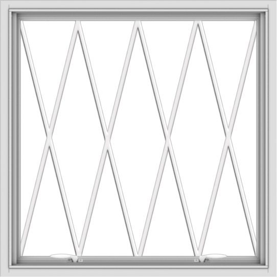 WDMA 36x36 (35.5 x 35.5 inch) White uPVC Vinyl Push out Awning Window without Grids with Diamond Grills