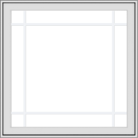 WDMA 36x36 (35.5 x 35.5 inch) White uPVC Vinyl Push out Casement Window with Prairie Grilles