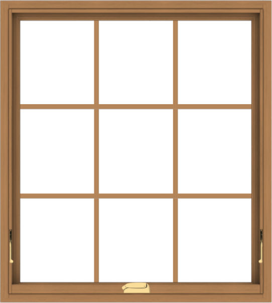 WDMA 36x40 (35.5 x 39.5 inch) Oak Wood Dark Brown Bronze Aluminum Crank out Awning Window with Colonial Grids Interior